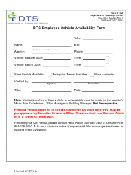"""Dts Employee Vehicle Availability Form"" - Utah"