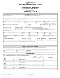 """""""Application for Utah Resident Individual License"""" - Utah"""