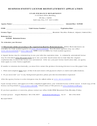 """Business Enitity License Reinstatement Application Form"" - Utah"