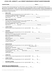 """""""Utah Life, Annuity, and Credit Insurance Group Questionnaire"""" - Utah"""