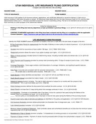 """""""Utah Individual Life Insurance Filing Certification"""" - Utah"""