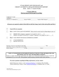 """Credit Life Insurance and Credit Accident & Health Insurance Report"" - Utah"