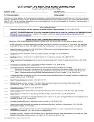 """""""Utah Group Life Insurance Filing Certification"""" - Utah"""