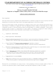 """Certificate of Approval Application for a Brewer (Located Outside of Utah), or Importer or Supplier of Beer, Heavy Beer, or Flavored Malt Beverages"" - Utah"