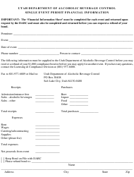 """Single Event Permit Financial Information Form"" - Utah"