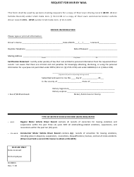 Form DLD 60M Request for Mvr by Mail - Utah