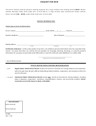 Form DLD 60 Request for Mvr - Utah