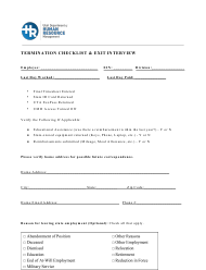 """Termination Checklist & Exit Interview Form"" - Utah"
