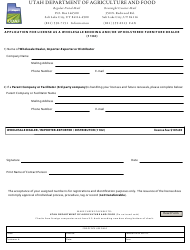 "Form 1102 ""Application for License as a Wholesale Bedding and/Or Upholstered Furniture Dealer"" - Utah"