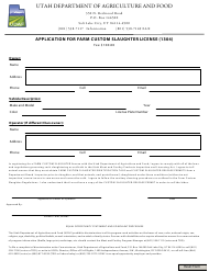 """Application for Farm Custom Slaughter License (1304)"" - Utah"