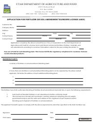 """Application for Fertilizer or Soil Amendment Blenders License (4005)"" - Utah"