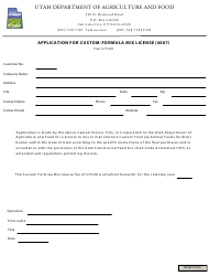 """Application for Custom-Formula Mix License (4007)"" - Utah"