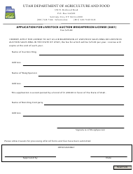 """Application for Livestock Auction Weighperson License (2601)"" - Utah"