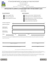 """Application to License a Custom Exempt Meat Establishment (2202)"" - Utah"
