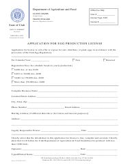 "Form AG-REG-0301 ""Application for Egg Production License"" - Utah"