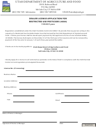 """Dealer License Application for Restricted Use Pesticides (4004)"" - Utah"