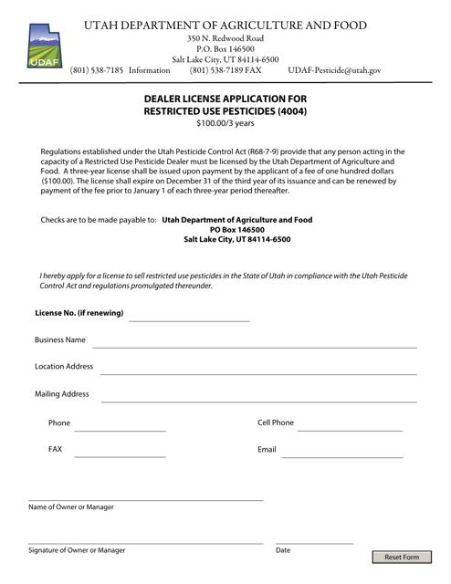 """""""Dealer License Application for Restricted Use Pesticides (4004)"""" - Utah Download Pdf"""