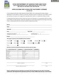 """Application for a Poultry Hatchery License"" - Utah"