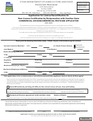 """Application for License Recertification or New License Certification by Reciprocation With Another State - Commercial or Noncommercial Pesticide Applicator"" - Utah"