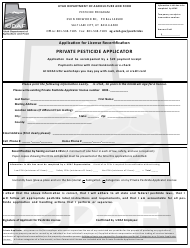 """Application for License Recertification - Private Pesticide Applicator"" - Utah"