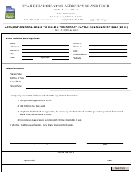 """Application for License to Hold a Temporary Cattle Consignment Sale (2102)"" - Utah"