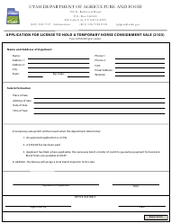 """Application for License to Hold a Temporary Horse Consignment Sale (2103)"" - Utah"