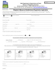 """Weights & Measures Establishment Registration Application Form"" - Utah"