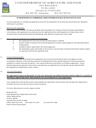 """Application for Registration - Commercial Feed Products"" - Utah"