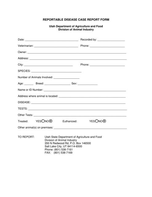 Reportable Disease Case Report Form - Utah Download Pdf