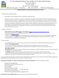 "Form AG-PLT-0831 ""Application for Registration - Pesticide"" - Utah"