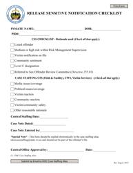 """Release Sensitive Notification Checklist"" - Vermont"