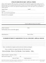 """""""Inmate Disciplinary Appeal Form"""" - Vermont"""