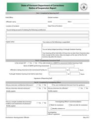 """Notice of Suspension Report Form"" - Vermont"