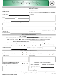 """Administrative Segregation Placement Report Form"" - Vermont"