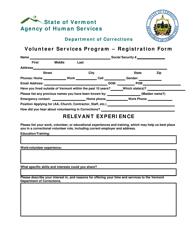 """Volunteer Services Program Registration Form"" - Vermont"