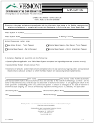 """""""Operating Permit Application for a Public Water System"""" - Vermont"""