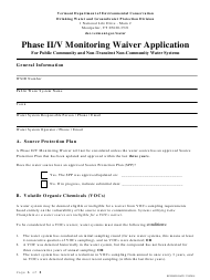 """""""Phase Ii/V Monitoring Waiver Application Form"""" - Vermont"""