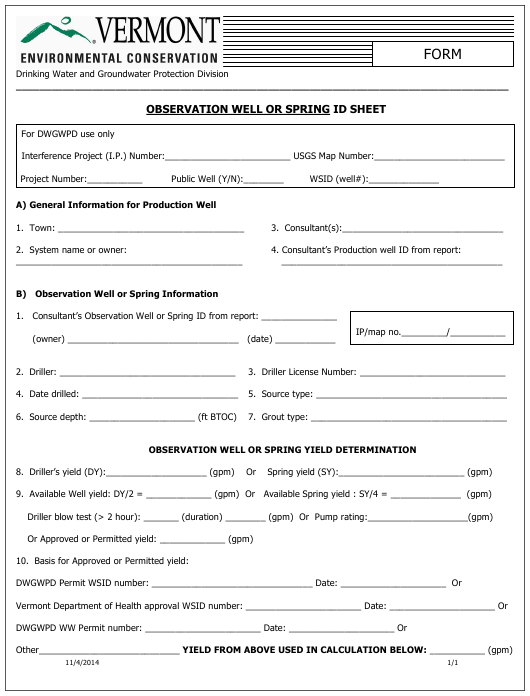 """""""Observation Well or Spring Id Sheet"""" - Vermont Download Pdf"""