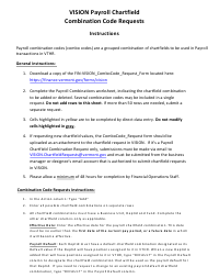 "Instructions for Form AA-F-VCF1 ""Vision Payroll Chartfield Combination Code Request"" - Vermont"