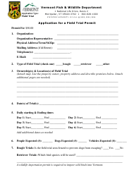 """Application for a Field Trial Permit"" - Vermont"