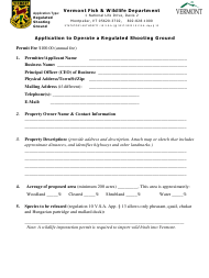"""Application to Operate a Regulated Shooting Ground"" - Vermont"