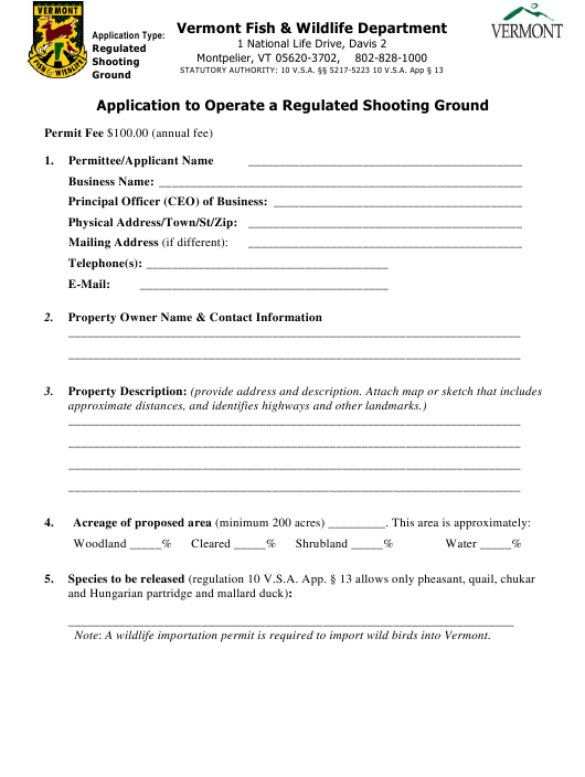 """""""Application to Operate a Regulated Shooting Ground"""" - Vermont Download Pdf"""