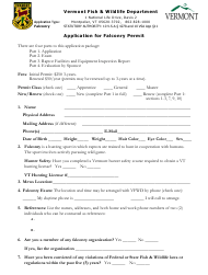 """Application for Falconry Permit"" - Vermont"