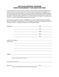 """Use Value Appraisal Program Forest Management Plan Signature Page"" - Vermont"