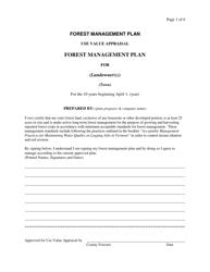 """""""Forest Management Plan"""" - Vermont"""