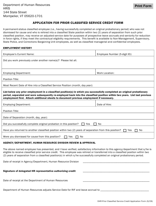"""Application for Prior Classified Service Credit Form"" - Vermont Download Pdf"