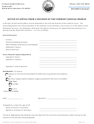 "Form 500-00420 ""Notice of Appeal From a Decision of the Vermont Judicial Bureau"" - Vermont"