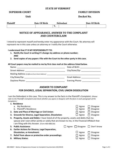 Form 400-00837  Printable Pdf