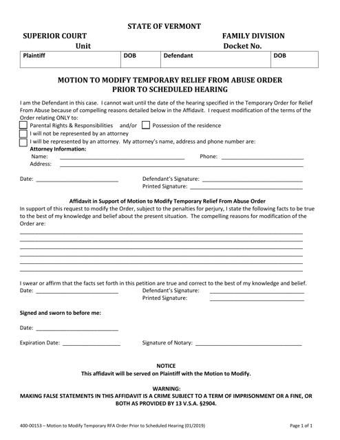 Form 400-00153 Printable Pdf