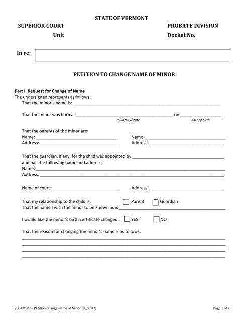 Form 700-00123  Printable Pdf